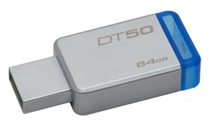 Flash USB Kingston DataTraveler 50 64GB USB 3.0 - modrý/kovový