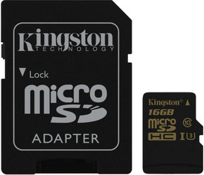 Paměťová karta Kingston MicroSDHC 16GB UHS-I U3 (90R/45W) + SD adapter