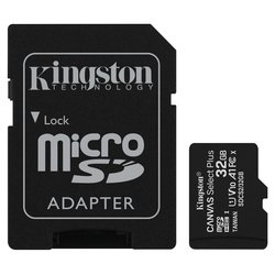 Paměťová karta Kingston Canvas Select Plus MicroSDHC 32GB UHS-I U1 (100R/10W) + adapter