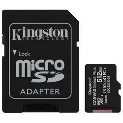 Paměťová karta Kingston Canvas Select Plus MicroSDXC 512GB UHS-I U1 (100R/85W) + adapter
