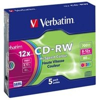 Disk Verbatim CD-RW DL 700MB/80min. 8x-12x, colors, slim box, 5ks