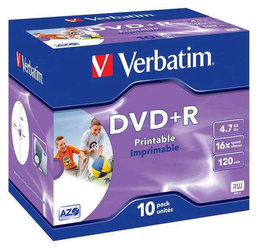 Disk Verbatim DVD+R 4,7GB, 16x, printable, jewel box, 10ks
