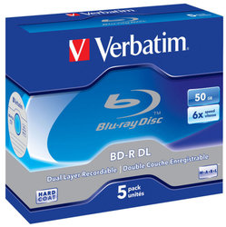 Disk Verbatim BD-R DL 50GB, 6x, jewel, 5ks