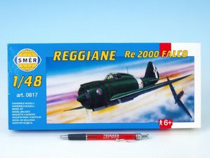 Model Reggiane RE 2000 Falco 1:48 16,1x22cm v krabici 31x13,5x3,5cm